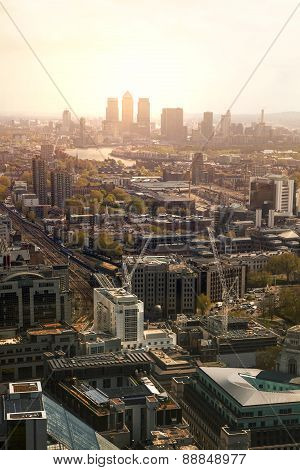 City of London panorama in sunset