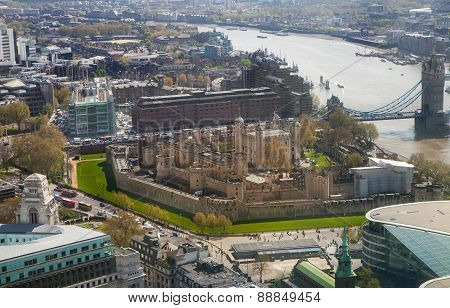 Tower of London, Tower bridge and and River Thames. London panorama form 32 floor of Walkie-Talkie b