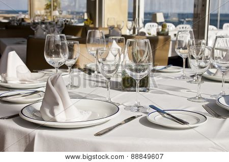 Table Crockery Setting In A Restaurant