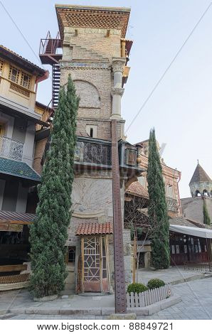 Tbilisi,Georgia-Feb,26 2015:Rezo Gabriadze falling tower, Marionette Theater in Old Tbilisi