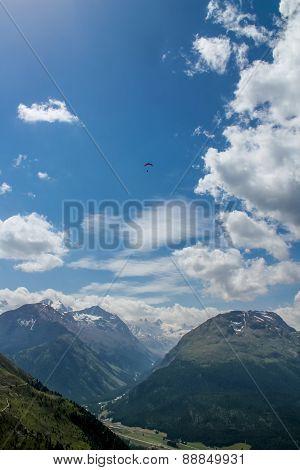 Paraglider In Ingadin, Switzerland