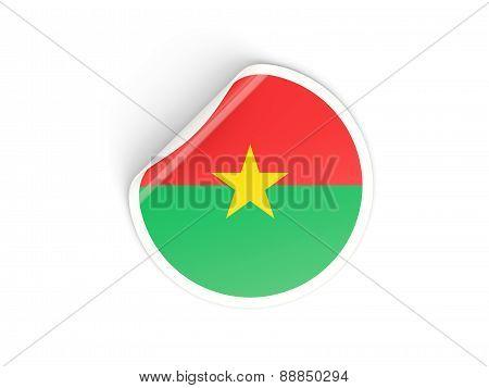 Round Sticker With Flag Of Burkina Faso