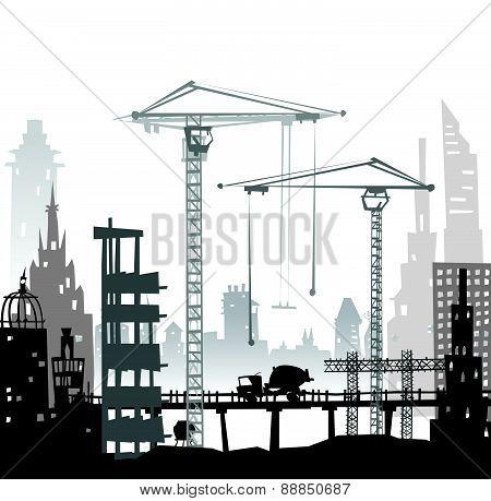 Building site with cranes and lorries
