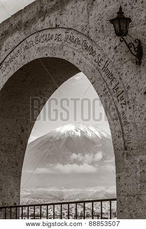Monochromatic View Of Volcano Misti, Arequipa, Peru