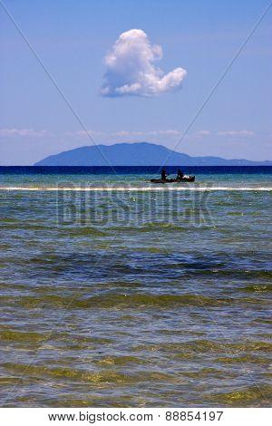 Boat In Ocean Near Nosy Mamoko