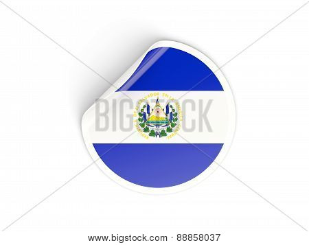 Round Sticker With Flag Of El Salvador