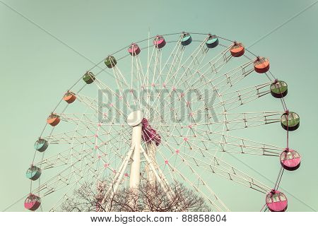 Colorful Giant Ferris Wheel Against, Vintage Style