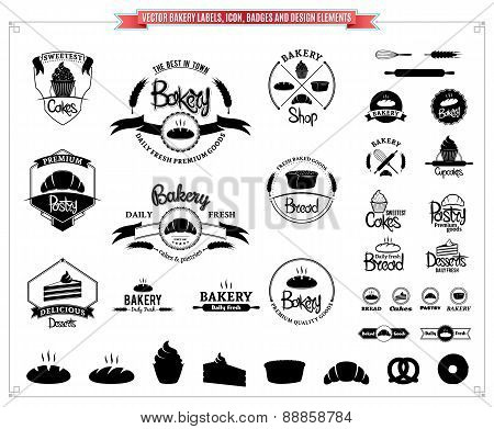 Vector Bakery Labels Templates , Icons, Badges and Design Elements