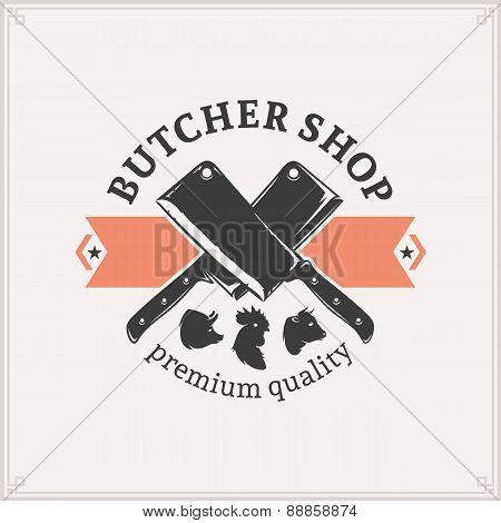 Butcher Shop Logo, Meat Label Template