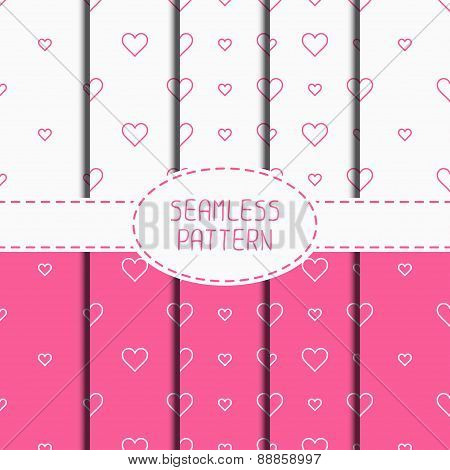 Set of pink romantic geometric seamless pattern with hearts. Collection of wrapping paper. Scrapbook