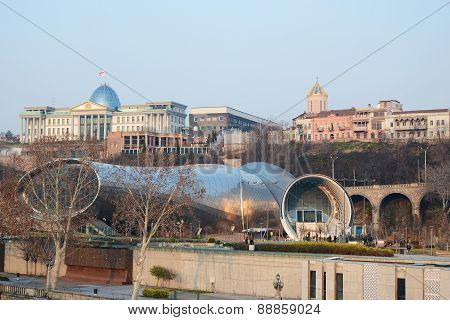Tbilisi,GE-Feb,26 2015: Modern highteck building of Theatre of Music and Drama and Exhibition Hall
