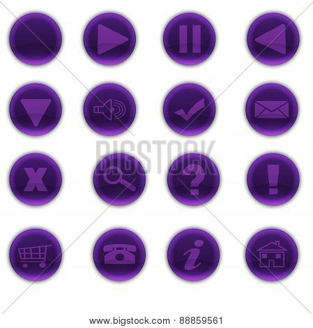 Round Purple Web Buttons