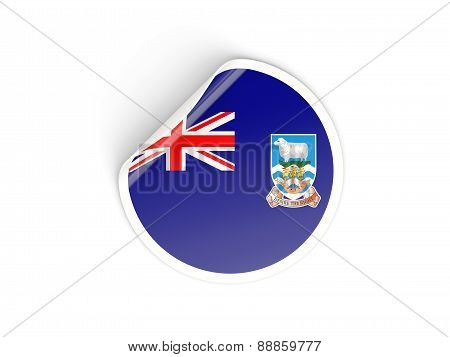 Round Sticker With Flag Of Falkland Islands