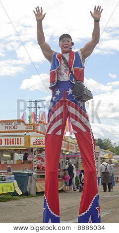 Tall Clown On Stilts