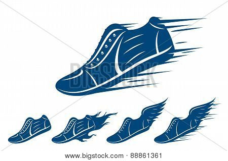 Running shoe icons, sports shoe with motion and fire trails isolated on white