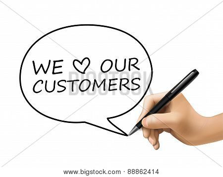 We Love Our Customers Words In Speech Bubble