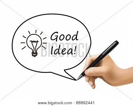 Good Idea Words With Lighting Bulb In Speech Bubble