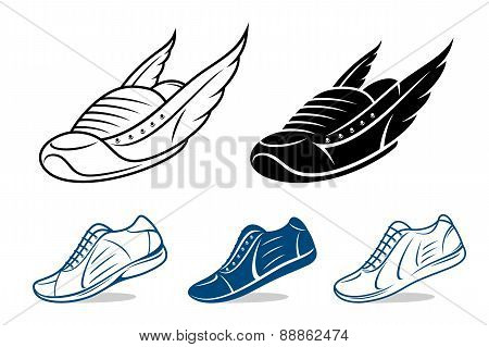 Running shoe icons, sneaker or sports shoe