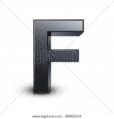 3D Black Letter F