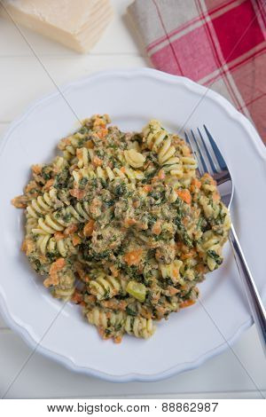 Home made vegetable pasta with parmesan cheese