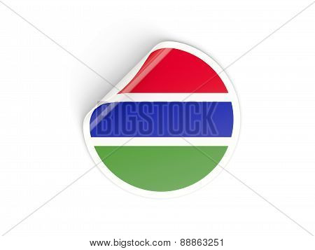 Round Sticker With Flag Of Gambia