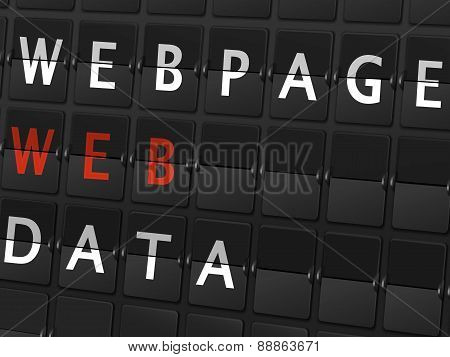Webpage Web Data Words On Airport Board