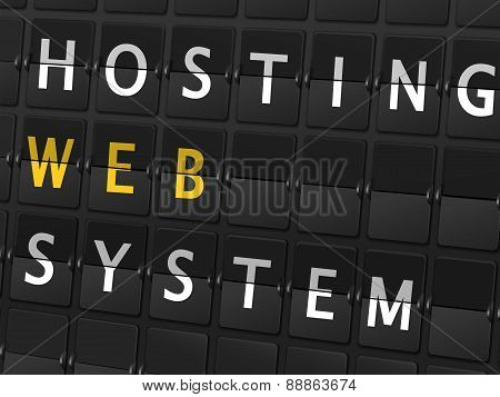 Hosting Web System Words On Airport Board