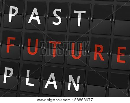 Past Future Plan Words On Airport Board