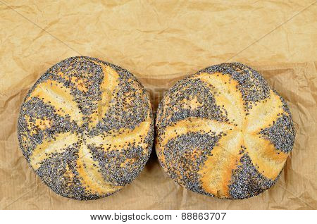 Two Poppy Seed Rolls, Detail, horizontal
