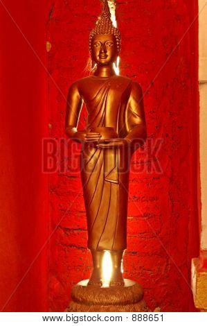 Buddha In Red Room Sukhothai,Thailand