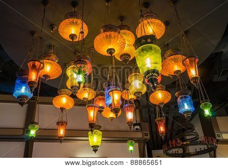 Colorful Lamps With Different Shapes In Arabic Setting