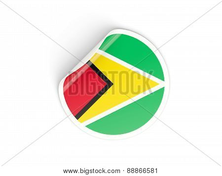 Round Sticker With Flag Of Guyana