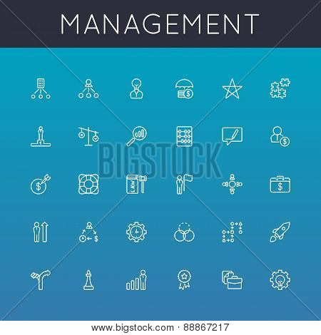 Vector Management Line Icons