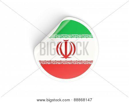 Round Sticker With Flag Of Iran