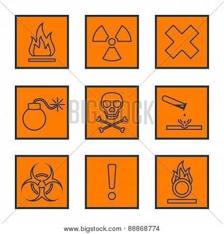 Orange Square Black Outline Hazardous Waste Symbols Warning Signs Icons .