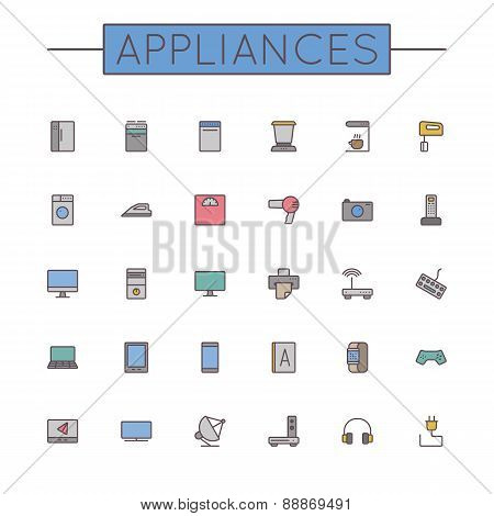 Vector Colored Appliances Line Icons