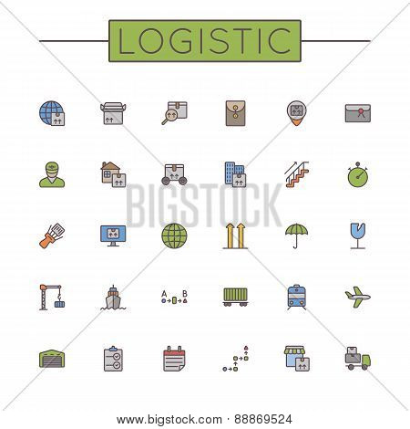 Vector Colored Logistic Line Icons