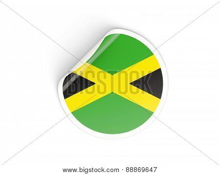 Round Sticker With Flag Of Jamaica