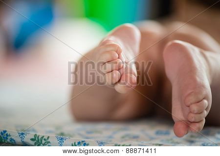 Close-up of tiny baby feet