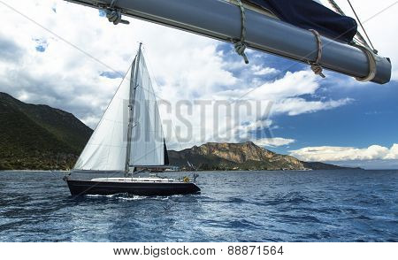 Beautiful sailboats on the sea. Luxury cruise yacht.