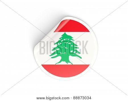 Round Sticker With Flag Of Lebanon