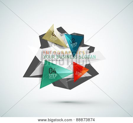 Triangle shape modern paper infographics. Minimal design