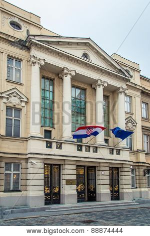 ZAGREB, CROATIA - 12 MARCH 2015: Main entrance to Croatian parliament in Upper town.