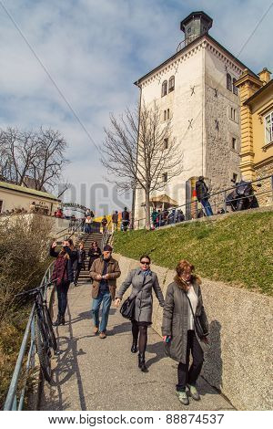 ZAGREB, CROATIA - 17 MARCH 2015: Lotrscak tower with its canon on a sunny day with locals and tourist.