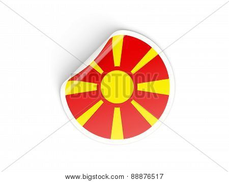 Round Sticker With Flag Of Macedonia
