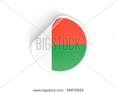 Round Sticker With Flag Of Madagascar