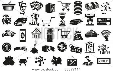 Money Icons Isolated On White