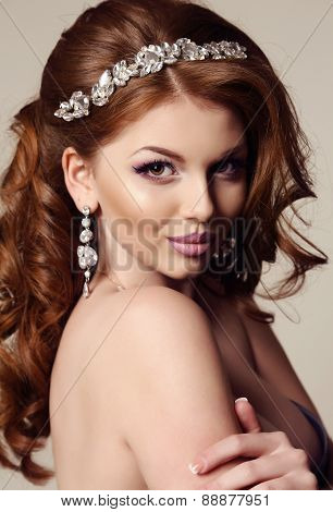 Beautiful Sensual Woman With Red Hair And Bright Makeup