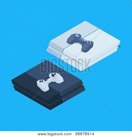 Isometric nextgen gaming consoles with gamepads