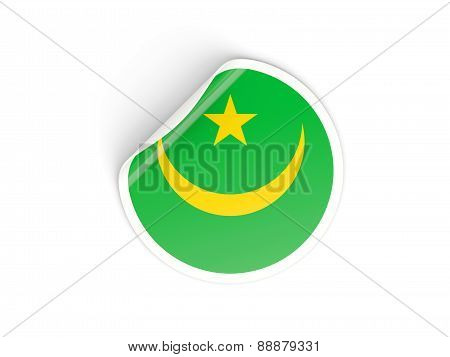 Round Sticker With Flag Of Mauritania